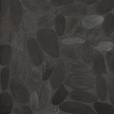 Flat Black Honed Pebble Mosaic