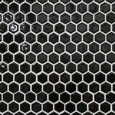 Black Hexagon Porcelain Mosaic
