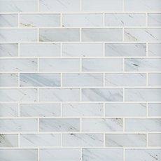 Carrara Print 1 x 3 in. Brick Glass Mosaic