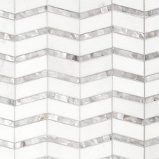 Thassos Mother of Pearl Chevron Marble Mosaic