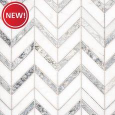 New! Heron Gray Chevron Honed Marble Mosaic