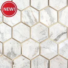 New! Bianco Orion Brass 6 in. Hexagon Polished Marble Mosaic