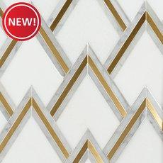 New! Bravos II Thassos Carrara Brass Waterjet Mosaic