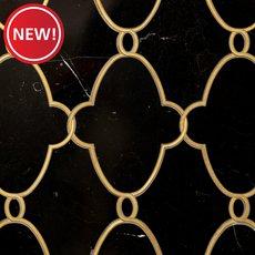 New! Gatsby II Black Jade and Brass Waterjet Marble Mosaic