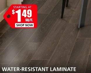 Water Resistant Laminate starting  at $1.69 per square foot