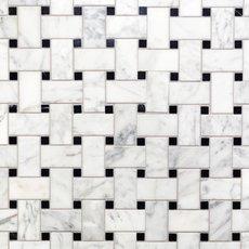 Bianco Carrara Basket Weave Marble Mosaic