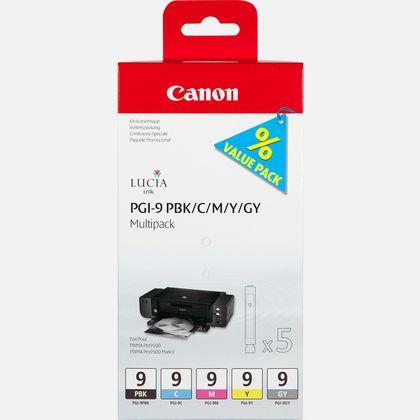 Multipack de 5 cartouches d'encre Canon PGI-9 PBK/C/M/Y/GY