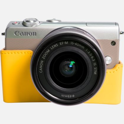 Canon EOS M100 gris + objectif EF-M 15-45 mm IS STM argent + coque + irista 50 Go