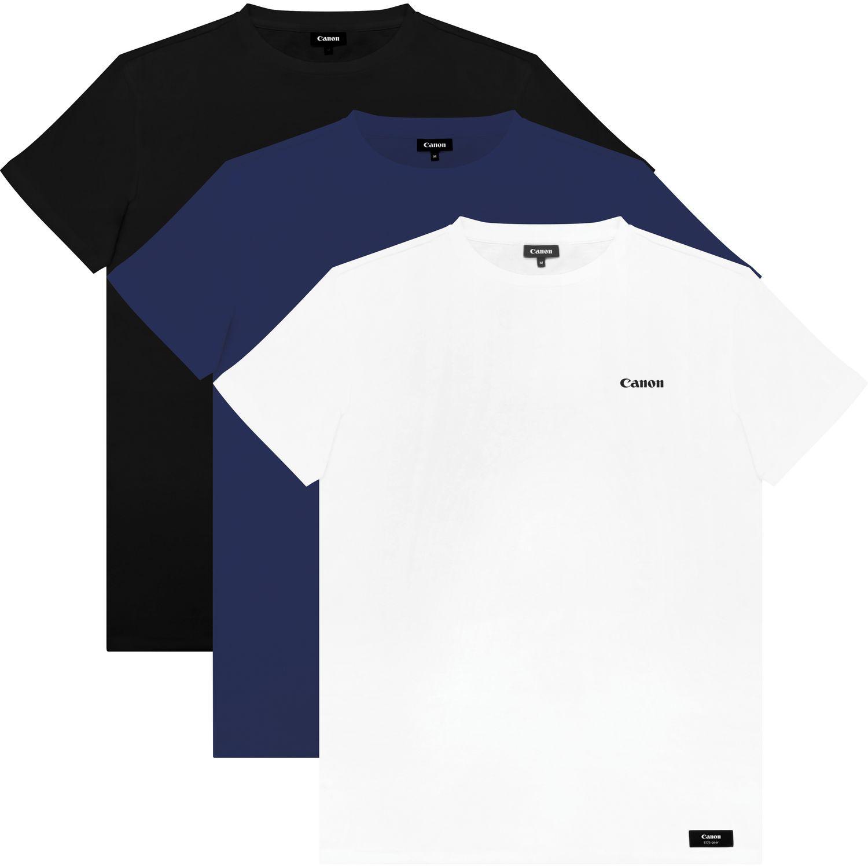 Herren T Shirt Mit Canon Logo Mehrere Farben Large 3 Er Pack