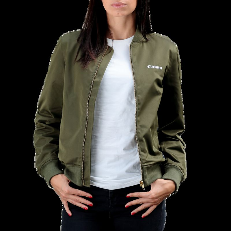 Buy Canon Logo Women's Bomber Jacket, Dark Olive Green
