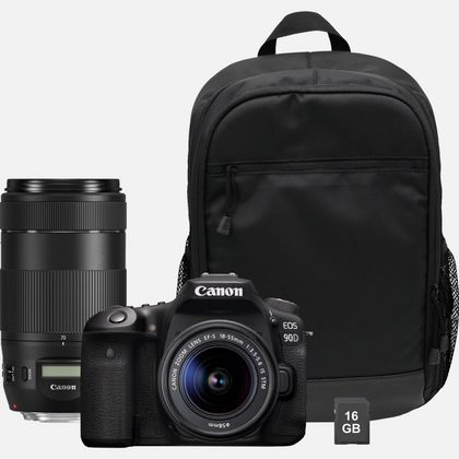 Canon EOS 90D + objectif EF-S 18-55mm IS STM + objectif EF 70-300mm IS II USM + sac à dos + carte SD