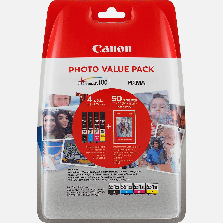 Pack économique de papiers photo Canon CLI-551XL BK/C/M/Y à haut rendement