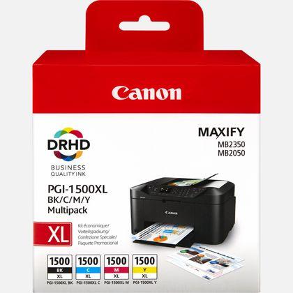 Multipack de cartouches d'encre noire/cyan/magenta/jaune haut rendement Canon PGI-1500XL