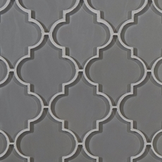Arabesque Fleur Gray Water Jet Cut Glass Mosaic