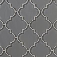 Arabesque Fleur Gray Water Jet Cut Glass Mosaic