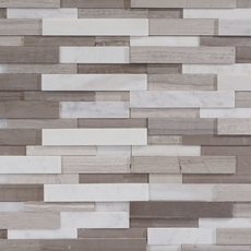Maravilla Gray and White Interlocking Honed Panel Marble Mosaic