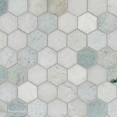 Caribbean Green Hexagon Polished Marble Mosaic