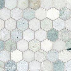 Caribbean Green Hexagon Tumbled Marble Mosaic