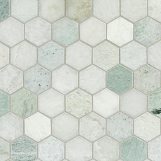 Maravilla Caribbean Green Hexagon Polished Marble Mosaic
