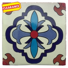 Clearance! Hand-Painted White Talavera Tile (Pattern RT4141)