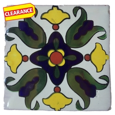 Clearance! Hand-Painted White Talavera Tile (Pattern RT6125A)