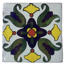 Hand-Painted White Talavera Tile (Pattern RT6125A)