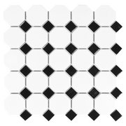 White and Black Dot Octagonal II Porcelain Mosaic