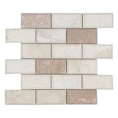 Avillano Beveled Ice Beige Brick Polished Marble Mosaic