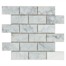 Carrara Collection Beveled Bianco Brick Polished Mosaic