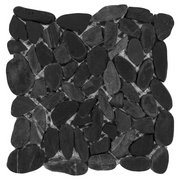 Flat Black Honed Pebble Mosaic