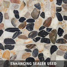 Mixed Flat Polished Pebble Mosaic