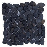 Round Black Honed Pebblestone Mosaic 12 X 12 100132240