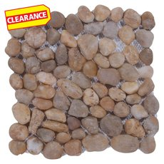 Clearance! Round Gold Honed Pebble Mosaic