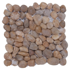 Round Gold Honed Pebblestone Mosaic