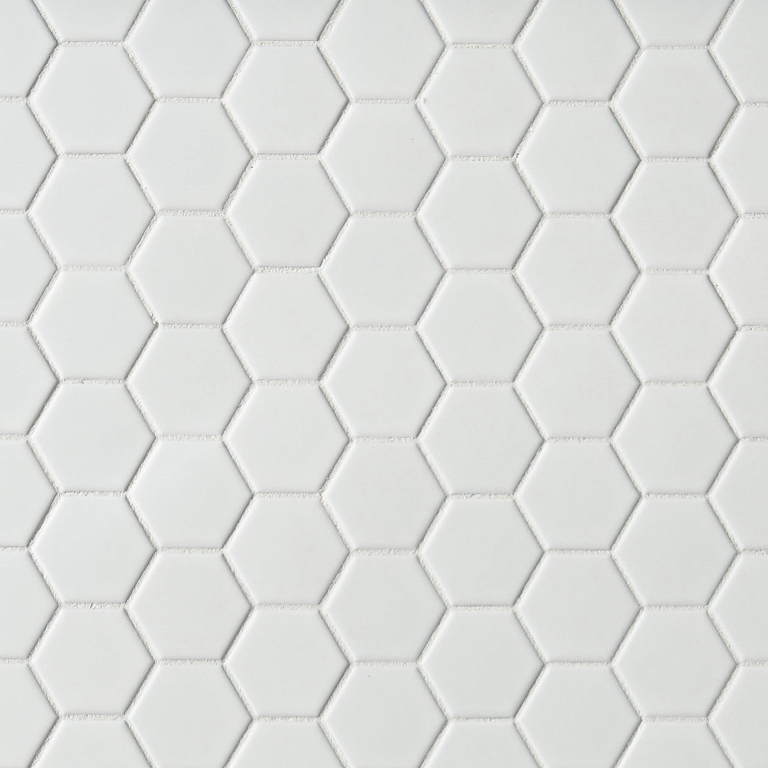 white tile bathroom floor. Metro White Matte Hexagon Porcelain Mosaic Tile Bathroom Floor H