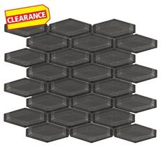 Clearance! Pure Shadow Elongated Hexagon Glass Mosaic