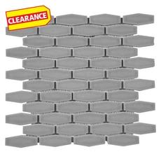 Clearance! Aqua Elongated Hexagon Porcelain Mosaic