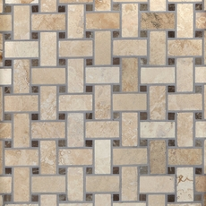 Ivory Basketweave Honed and Filled Travertine Mosiac