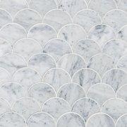 Carrara Fan Water Jet Cut Marble Mosaic