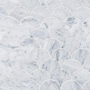 Carrara Fan Waterjet Marble Mosaic