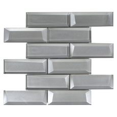 Broadway Silver 2 x 6 in. Brick Glass Mosaic