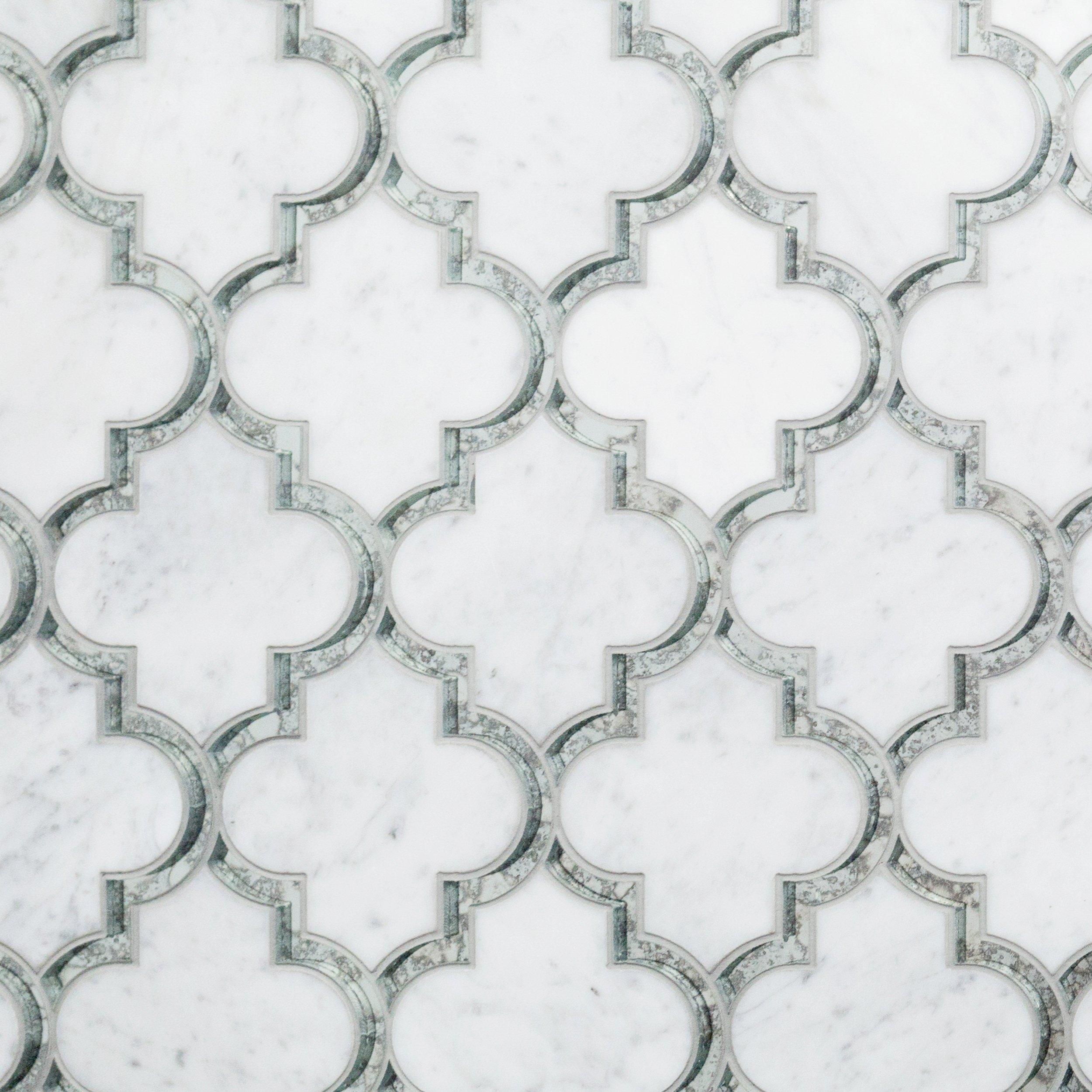Carrara Thassos Hera Waterjet Marble Mosaic 14 X 17