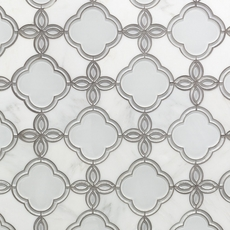 Carrara White Fiore Water Jet Cut Marble and Glass Mix Mosaic