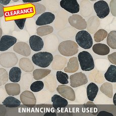Clearance! Bodrum Cool Blend Flat Pebblestone Mosaic