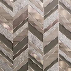 Metallico Glass and Copper Chevron Mosaic