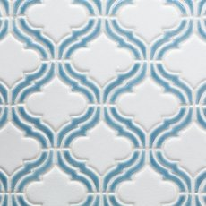 Sea Blue Frame Arabesque Porcelain Mosaic