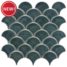 New! Peacock Fan Crackled Ceramic Mosaic