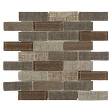 Chestnut Tweed Multi Finish Brick Glass Mosaic