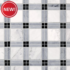 New! Bianco Carrara Tartan Marble Mosaic