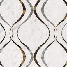 Medusa Bianco Carrara Mirror Water Jet Marble Mosaic